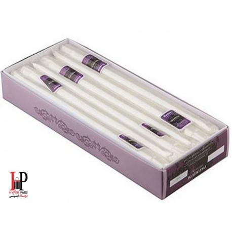شمع قلمی کنزو رنگ سفید متالیک سایز 30 سانتی متر