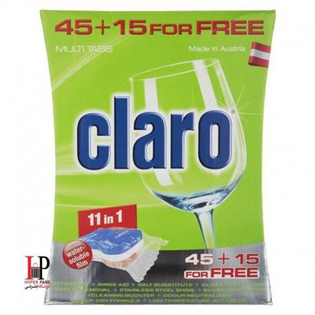 قرص ماشین ظرفشویی 11 کاره 60 تایی کلارو (Claro)